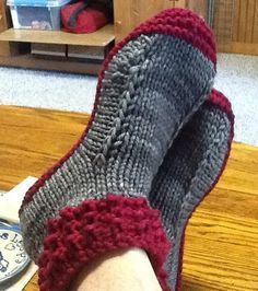 Free Knitting Pattern Crocodilly Mocs - Kris Basta designed these slipper mocs with a knit crocodile stitch cuff. Pictured project by vickite.
