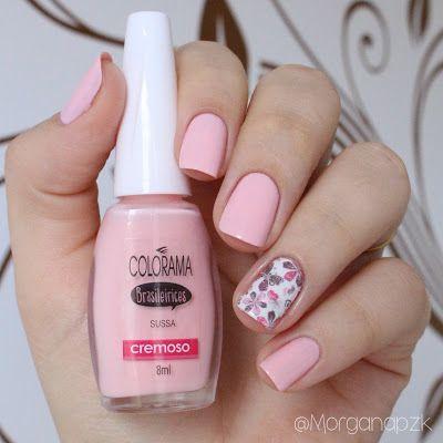 "Esmalte ""Sussa"" da Colorama e Película de Borboletas da Esmalte Bonito | Nail art | Nail design | Pink nails | Delicada | by @morganapzk"
