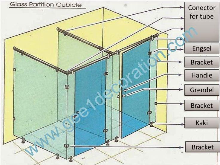 aluminium, kusen, kaca, partisi,  pintu, jendela, lipat, geser, swing, jungkit, pivot, sliding, : cubicale toilet kaca