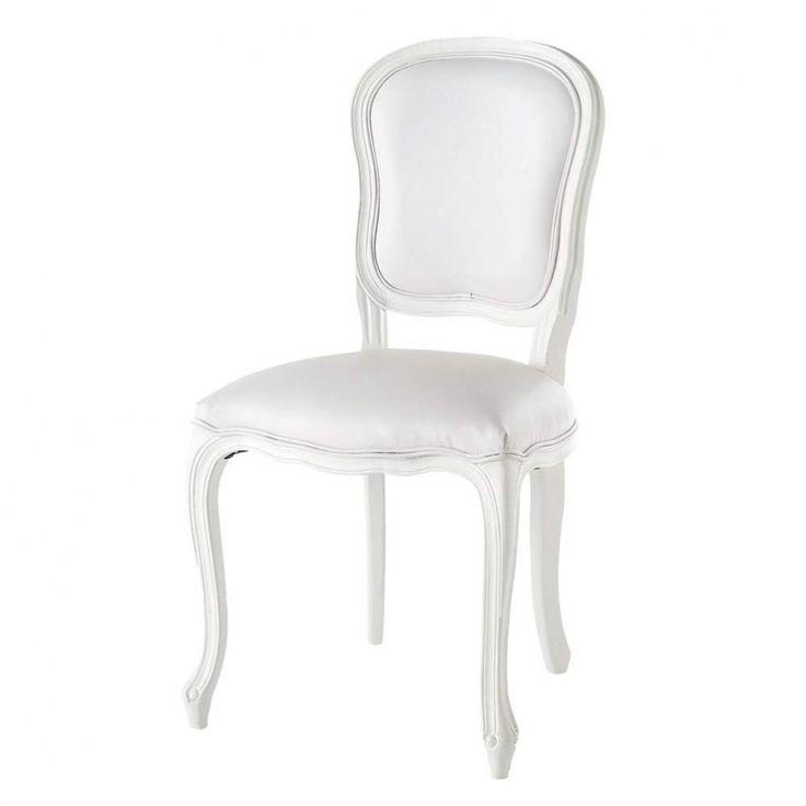 Chaise imitation cuir et bois blanche Versailles