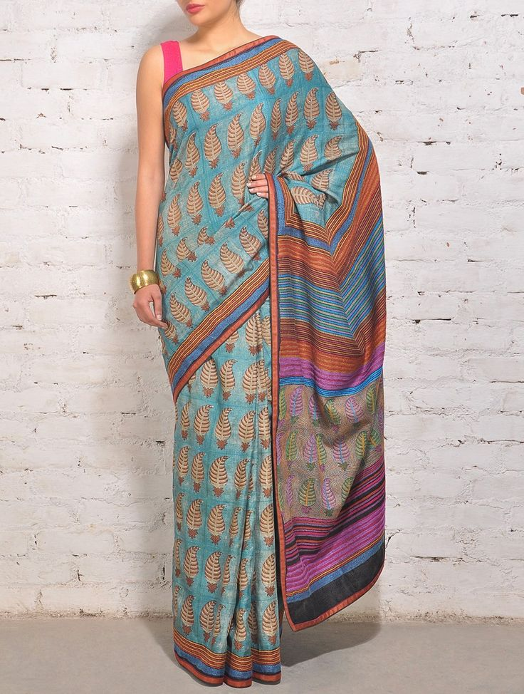 Multi-Color Tussar Silk Kantha Saree