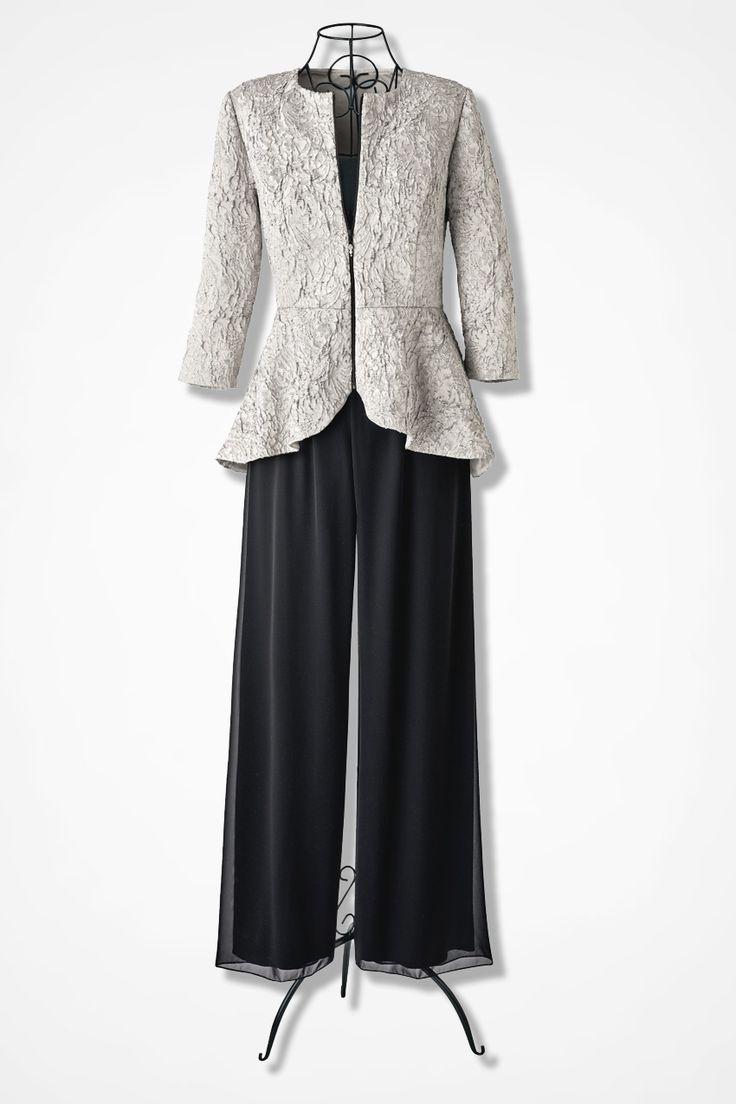 Modern Platinum Peplum Jacket by Alex Evenings
