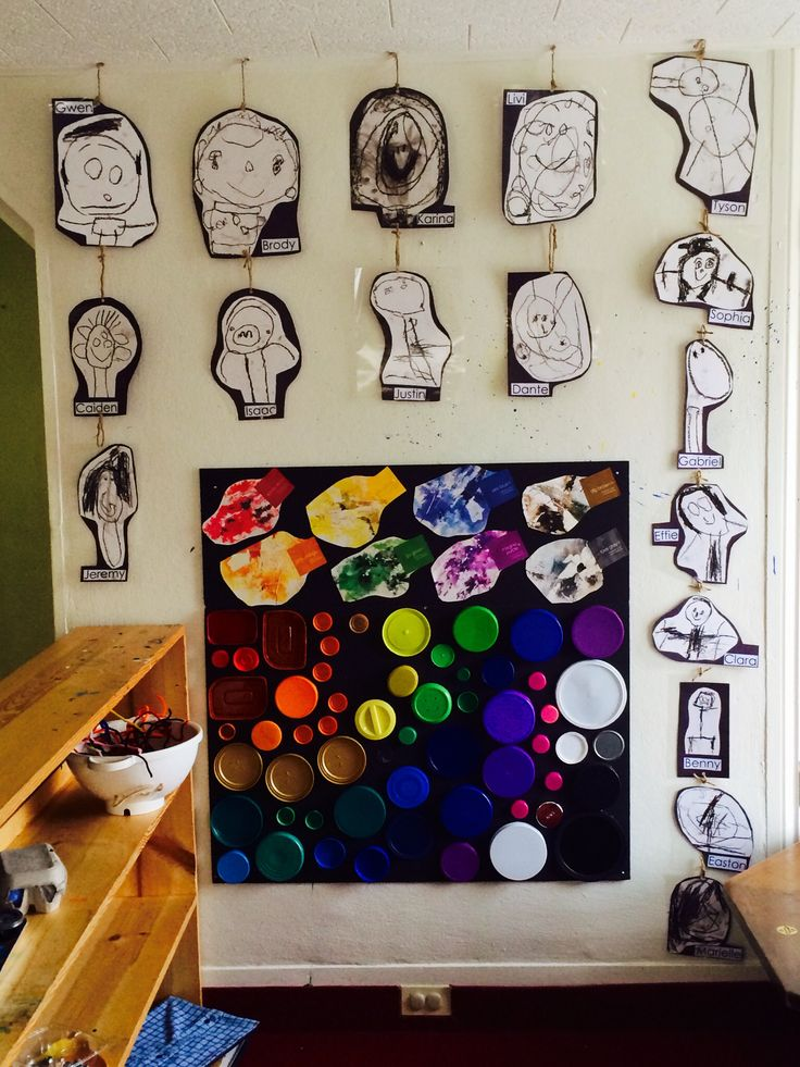 """Part of the Reggio-inspired philosophy is """"valuing children's artwork"""" and seeing the """"image of the child"""" incorporated throughout their environment. Each self-portrait is laminated, labeled, and displayed on the back wall where they play and learn."""