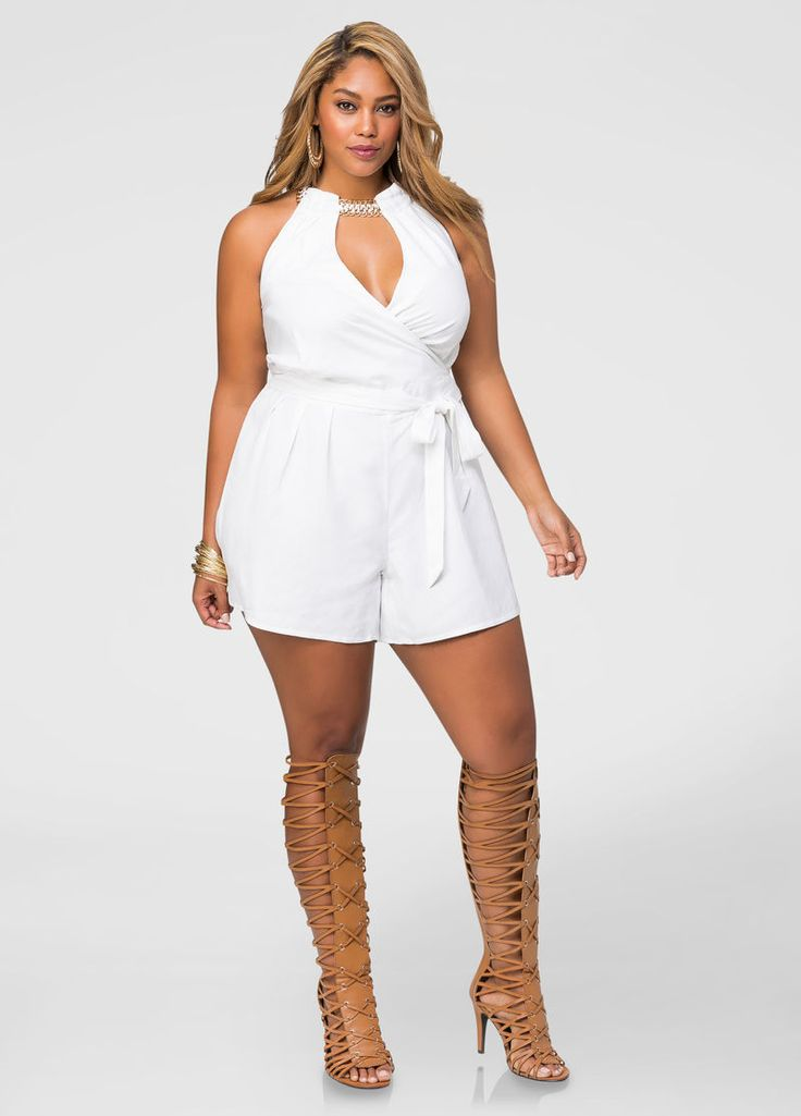 Yasss, queen!  Plus Size Necklace Halter Linen Romper