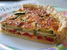 gruyère, poivre, poivron rouge, oeuf, crême fraîche, courgette, poireau, concentré de tomate, huile d'olive, beurre, pâte brisée, sel