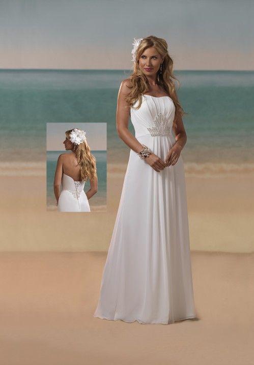 Beach strapless wedding dress beach bridal gowns on for Beach wedding bridesmaid dresses pinterest