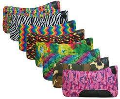 Multicolored, zebra print, or camo saddle pads