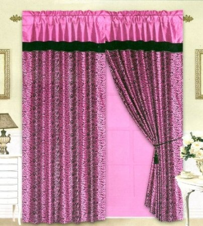 Amazon Com Black Pink Flocking Leopard Satin Window