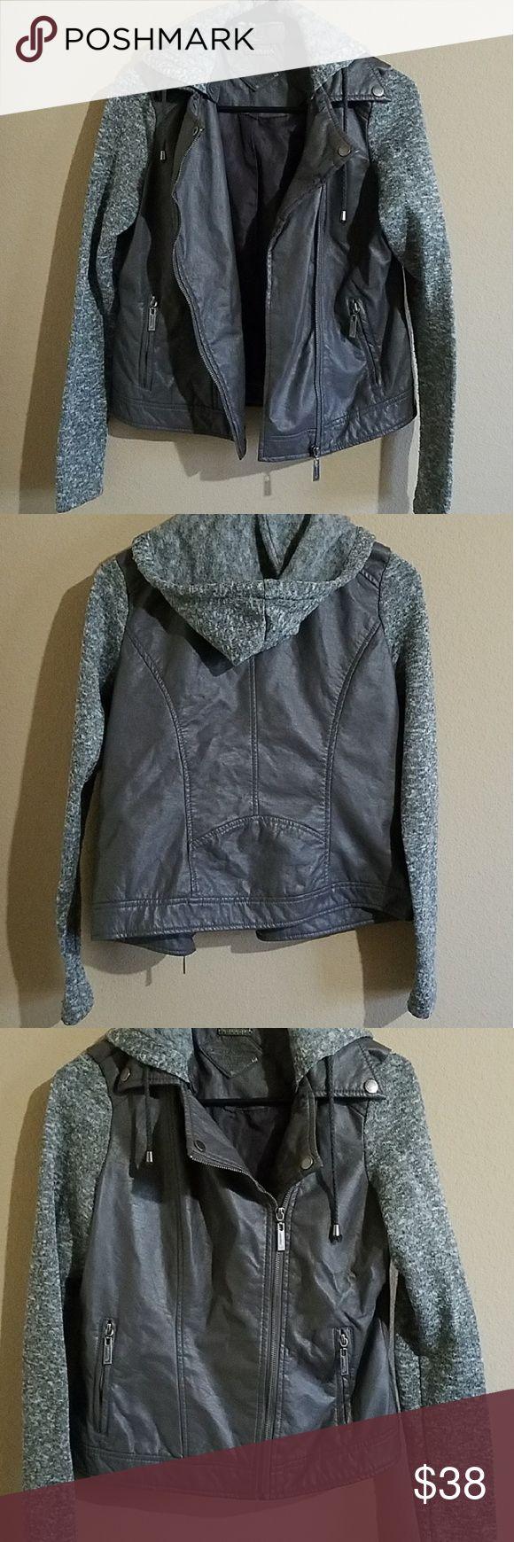HP 🖤 Jou Jou Hooded Faux Leather Jacket Grey fabric