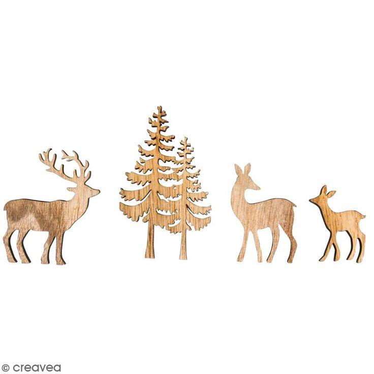 Miniaturas de madera - Ciervos y abetos - 7,5 cm - 4 uds