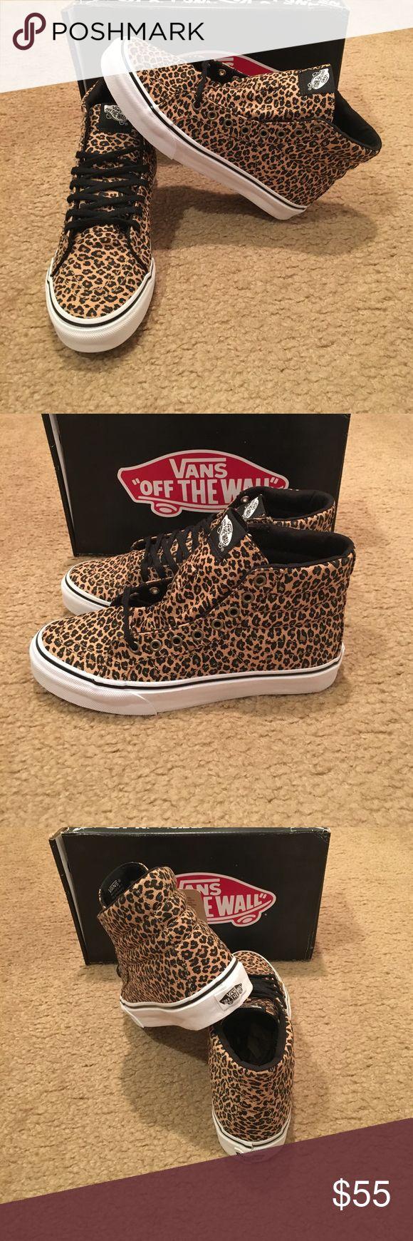 Leopard Vans Sk8Hi Slim Sneakers New in box. Herringbone Vans Shoes Sneakers