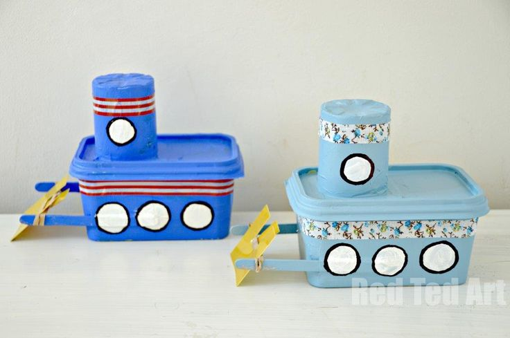 Boat Craft-- self propelling water boats made from butter tub and yogurt cup. Cute and cheap!