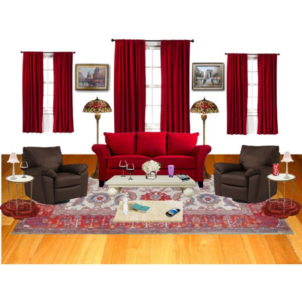 """red living room"" by ethemuse on Polyvore"