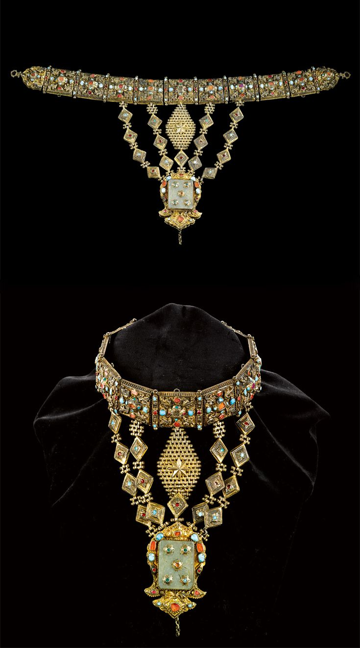 Ruby, jade, carnelian, turquoise, silver and gold necklace, Ottoman, circa 16th/17th century.