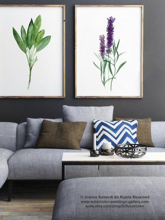 Salbei Kunstdruck, Lavendel Aquarell, Küche Wand Illustration, Kräuter Gewürze Dekoration grün Wohnzimmer Dekor, botanische Kunst