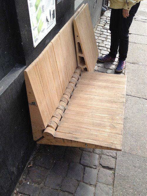 Bench on a street in Copenhagen