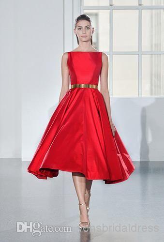Wholesale Cocktail Dresses - Buy 30% OFF! Red Satin Short Cocktail Dresses 2014 New A Line Tea Length Carpet/Celebrity Prom Dresses, $81.28 ...