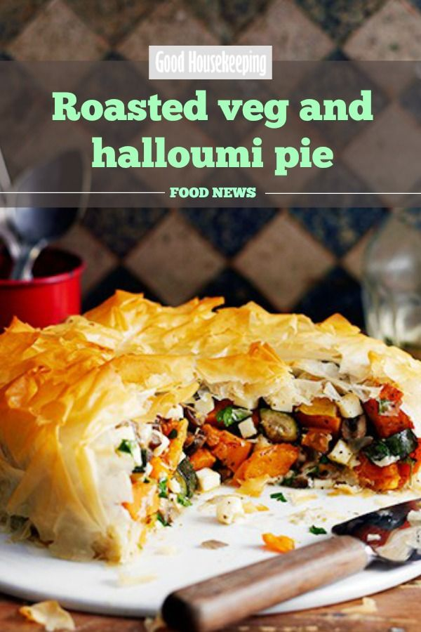 Roasted vegetable and halloumi pie. This colourful vegetarian pie recipe is bursting with nutrients and goodness. #roastedvegetable #halloumi #pie #vegetarianrecipe