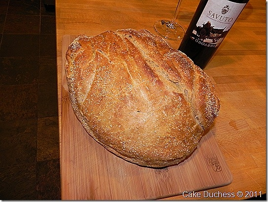 No kneed rustic wheat bread...in my oven right now!