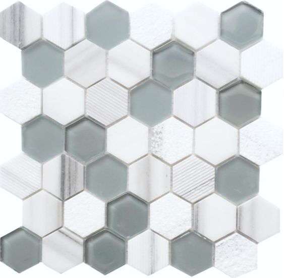 "Glass White Stone Mix 2"" Hexagon #faberstoneandtile"