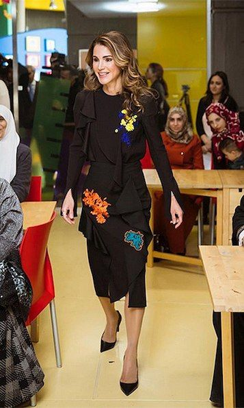 On December 4, Queen Rania made a fun and sophisticated style statement at the launch of 'Karim and Jana', a free mobile application developed by the Queen Rania Foundation for Education and Development (QRF) to promote early childhood education. The Jordanian royal wore Versace's Embroidered Florage Ruffle top and skirt, now on sale for $525 and $712 respectively on the brand's website. Photo: © Instagram/@queenrania