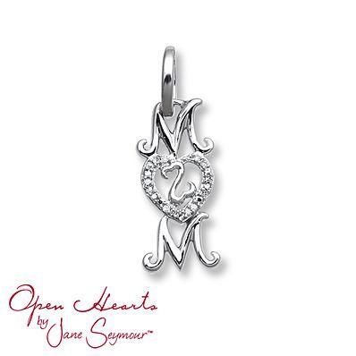 "This mini-charm from the Open Hearts Stories collection is the perfect gift for Mom! The sterling silver ""Mom"" features a diamond-studded heart with the iconic Open Hearts symbol at its center. Mini-charms can be added to a bangle, necklace, charm bracelet or hoop earring so you can create your unique Open Hearts story!"