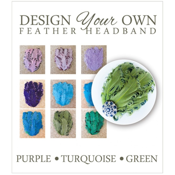 Design Your Own! ~ Feather Headbands (purple, turquoise and greens)