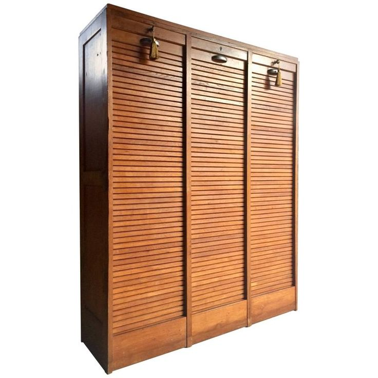 Midcentury French Haberdashery Oak Cabinet Cupboard Tambour Front Three Section | 1stdibs.com