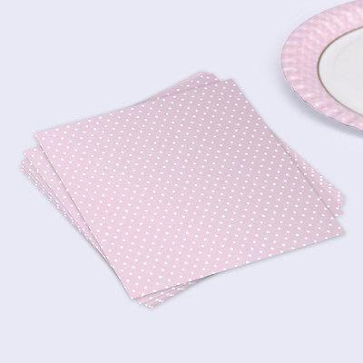 Polka Dot Pastel Pink Paper Napkins