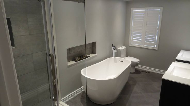 Bathroom renovation completed in a semi-detached home in Aurora Ontario.