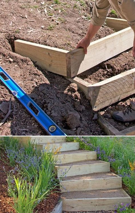How to Build Outdoor Stairs | This garden stair design can be adapted to suit yo…