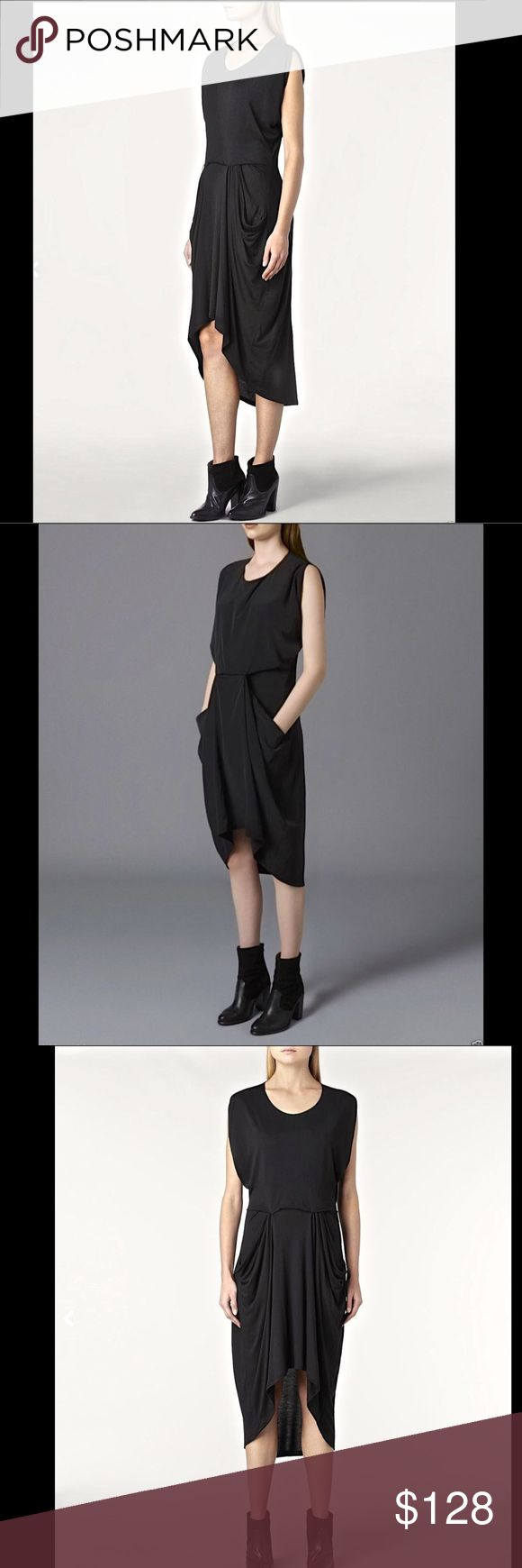 "AllSaints black soft drapy Midi Maxi hi lo Dress 4 AllSaints black soft drapy Midi Maxi hi lo Zoe Yunao Dress A loose fitting, longer mid length jersey dress,  is made in a super soft European silk blend.  Draped and designed on the stand the combination fabric creates an effortless hang.               New With Tags  *  Size:   US 4               retail price:  $148.00  US 4  *  UK 8  * EU 36     Fabric: 85% Modal 15% Silk  38"" around bust 26.5"" around waist relaxed 38"" long in front middle…"