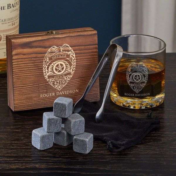 Engraved Police Badge Set With Whiskey Glass Zazzle Com Whiskey Gift Set Whiskey Gifts Whiskey Lover Gifts