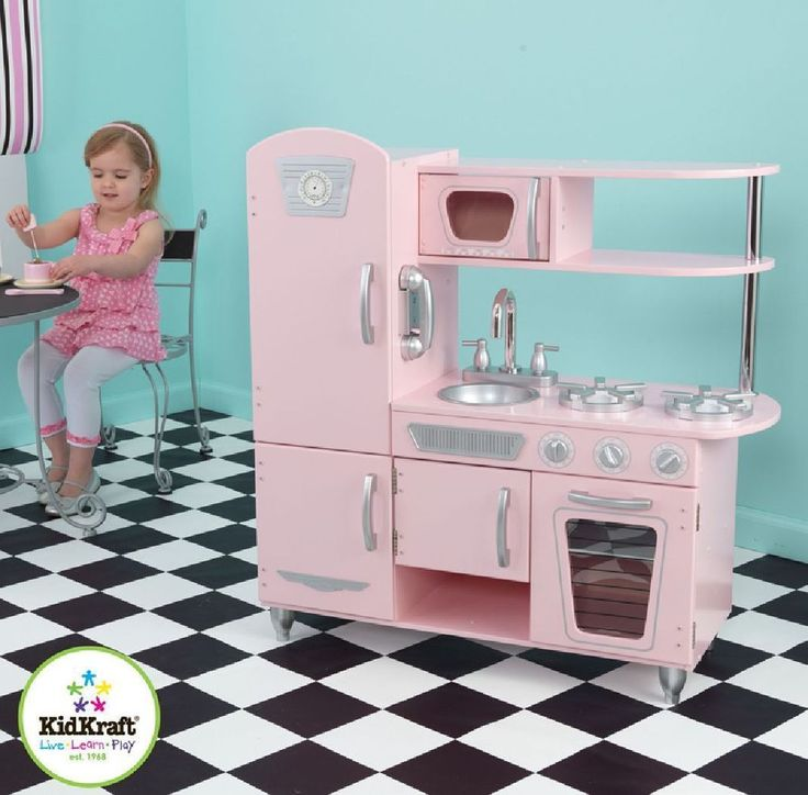 Noel Kidkraft Kitchen Pink Vintage Kids Wooden Pretend Play Set Kidcraft Cooking Toys