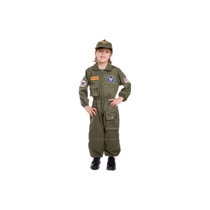 Halloween Boys' Air Force Pilot Costume - M(8-10), Multicolored