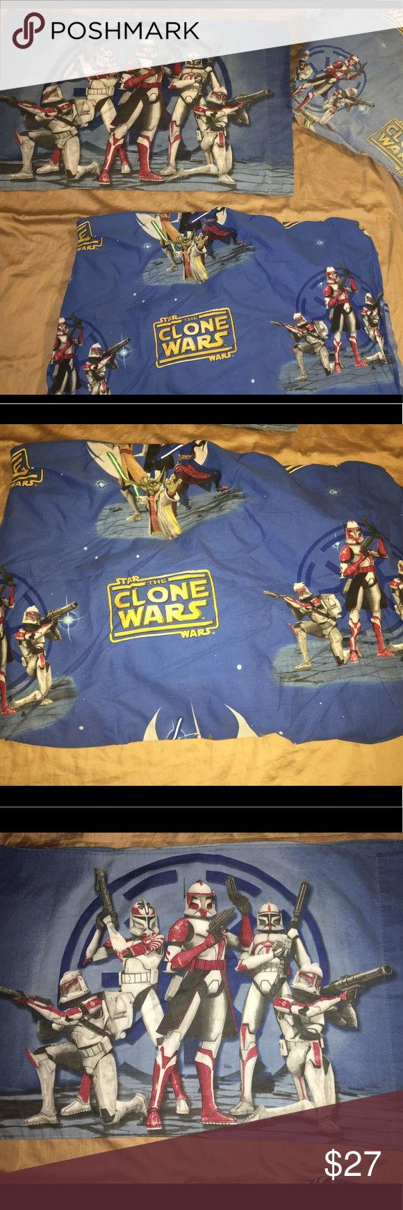 Four piece Star Wars clone wars sheet set TWIN SZ Thank you for viewing my listing, for sale is a four piece Star Wars the clone wars she said. You will receive two fitted twin size sheets, and two new Star Wars pillowcases. The sheets are the exact same and so were the pillowcases.  One sheet looks brand-new, the other sheet is very faded and has definitely been slept on. Both are fitted and both are size twin  Both pillowcases are in good condition  If you have any questions or would like…