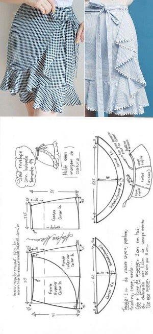 Saia envelope com babados | DIY - molde, corte e costura - Marlene Mukai