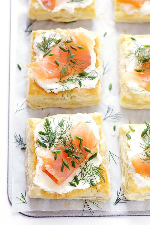 Smoked Salmon and Cream Cheese Pastries | These Smoked Salmon and Cream Cheese pastries are super-easy to make with buttery, flaky, delicious puff pastry. And when topped with my favorite cream cheese, smoked salmon, and variety of toppings, they're always a hit with a crowd! @gimmesomeoven