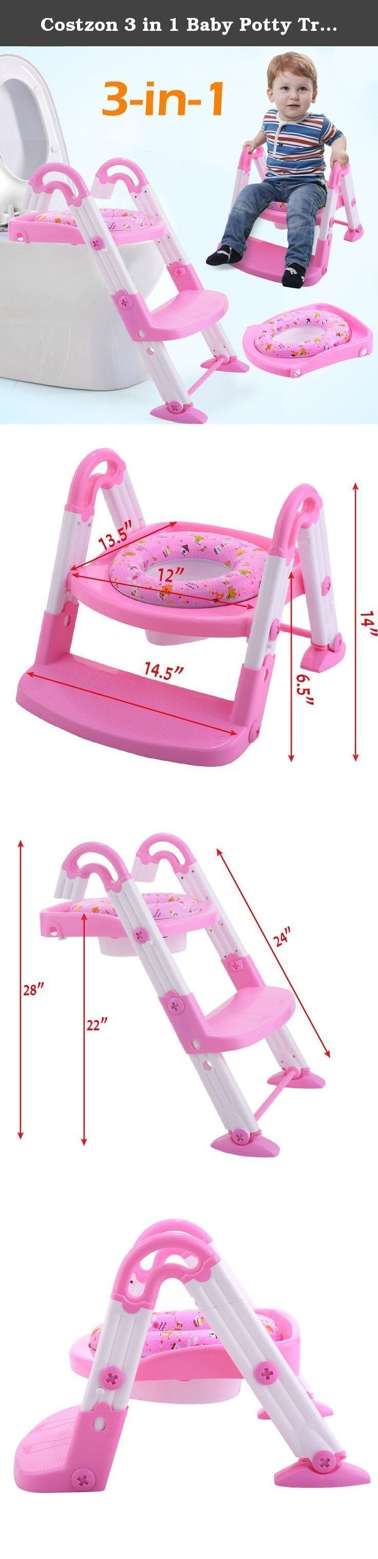 Costzon 3 in 1 Baby Potty Training Seat Toddler Toilet Step Trainer Non-Slip Ladder (Pink). Feature Helps child become independent while toilet training A self standing potty seat for toilets that is designed with bright and cheerful colors and will encourage your toddler to want to use their potty seat every day. Made with skid proof, non slip materials Made to use on-the-toilet with a built-in step stool, and a comfortable, toddler toilet seat insert. Made of easy-to-clean polypropylene...
