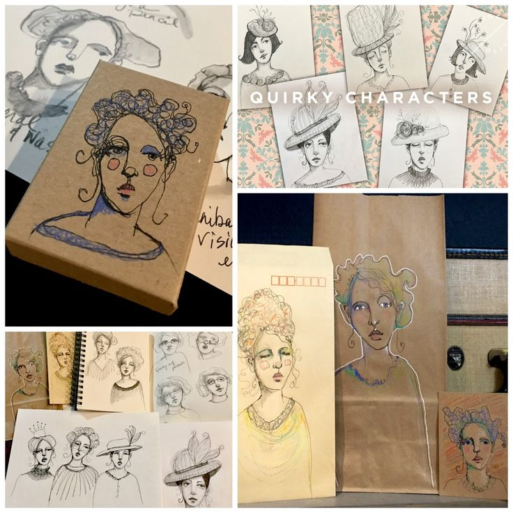 quirky characters lucy artist drawing cook teens jeanneoliver projects collage course