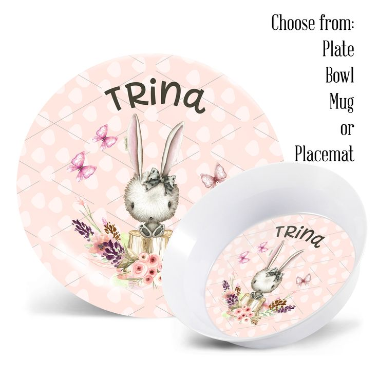 Personalized Kids Plate - Bunny Girls Easter Plate  sc 1 st  Pinterest & 9 best Plates bowls \u0026 placemats just for kids images on Pinterest ...