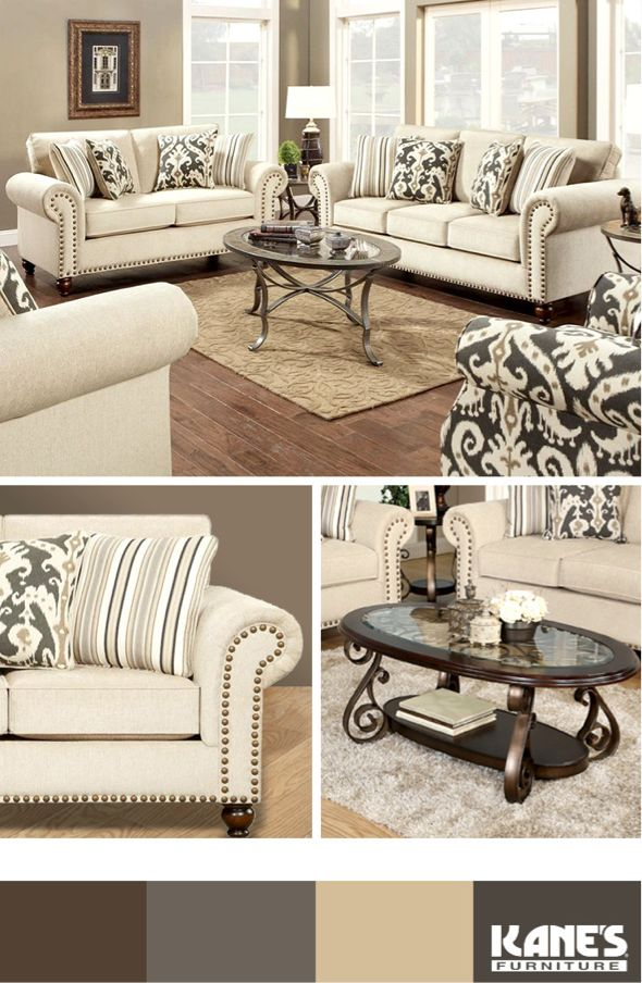 Comfort. Class. Graceful beauty. Our Casbah 3pc Living Room set has it all. A nailhead trimmed sofa and loveseat anchor your living space with a rich, cream-colored tone. The accent chair's ikat pattern and dark cherry wooden legs make it all pop!
