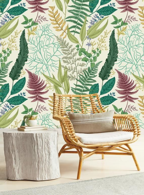 Ferns Repositionable Removable Wallpaper Peel And Stick Etsy Print Wallpaper Removable Wallpaper Wallpaper