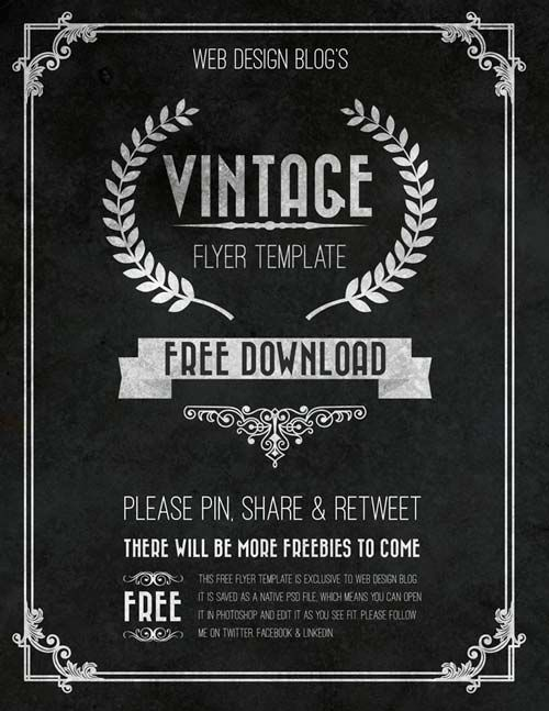 Download the Free Vintage Chalkboard Flyer PSD Template - Free Flyer Templates & PSD Club Flyer Design - Download Freebies on FreePSDFlyer