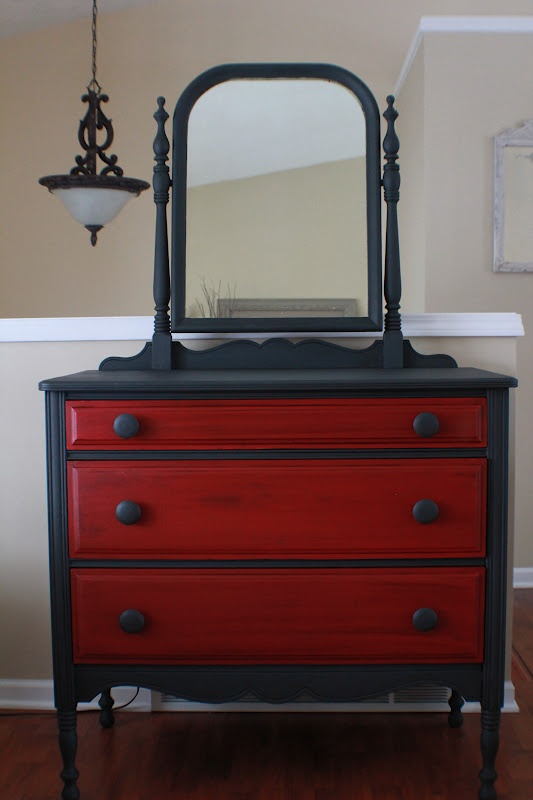 Graphite And Red Painted Vintage Dresser, Annie Sloan Chalk Paint