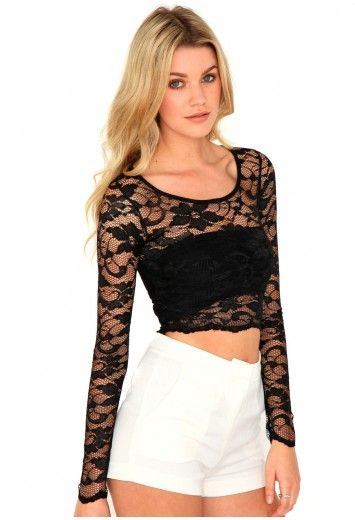 Crystal Lace Crop Top - Tops - Crop Tops - Missguided
