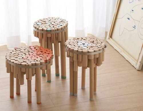 SONY DSC: Chair, Wooden Dowels, Designer Yuval, Metal Ring, Chopped Tables, Sony Dsc, Furniture Design, Yuvaltal