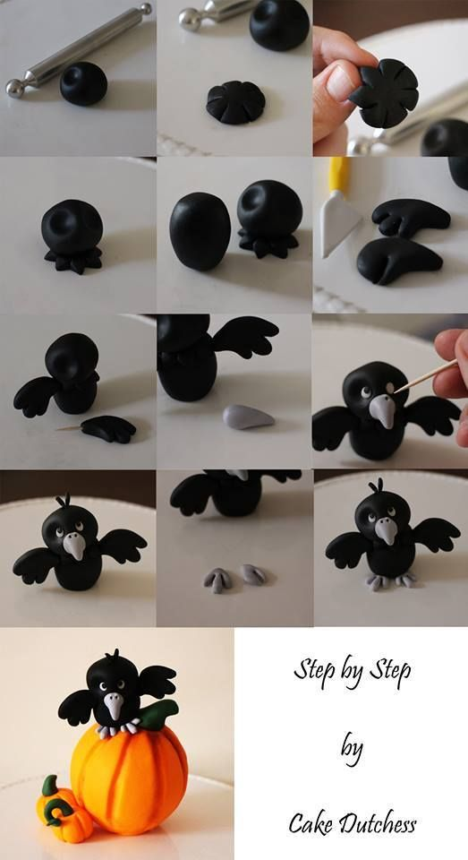 fondant CROW on Pumpkin - For all your cake decorating supplies, please visit craftcompany.co.uk