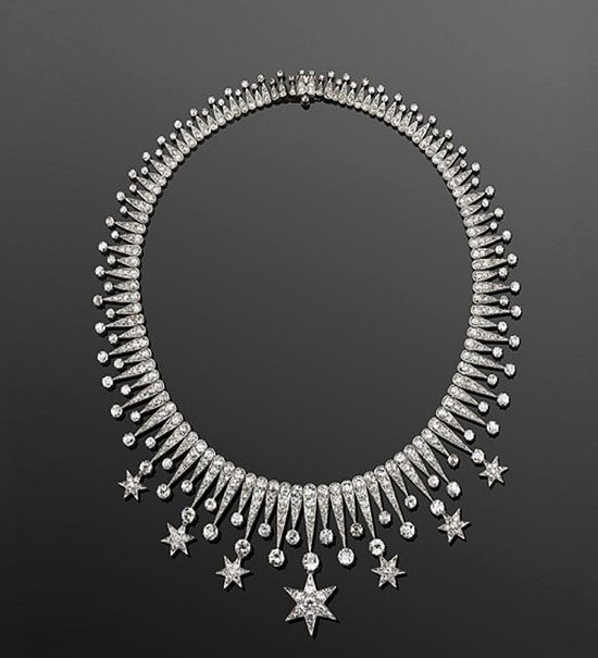 listed as Diamond Stars Fringe Necklace, by Fred Leighton