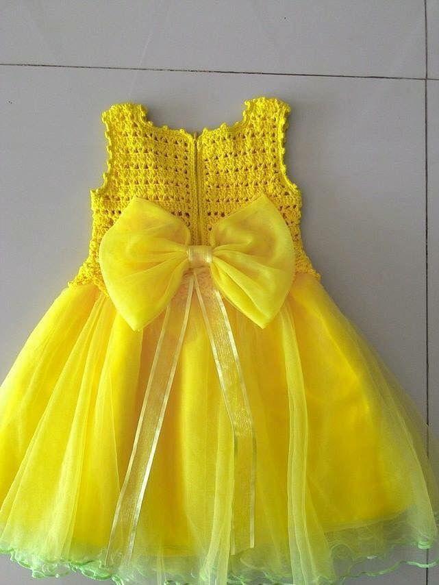 """Vestido amarillo con roson. [   """"Adressin with crochet yoke"""" ] #<br/> # #Crochet #Art,<br/> # #Crochet #Animals,<br/> # #Crochet #Yoke,<br/> # #Baby #Dresses,<br/> # #Girls #Dresses,<br/> # #Crochet #Dresses,<br/> # #Baby #Cardigan,<br/> # #Style,<br/> # #Kids #Clothing<br/>"""